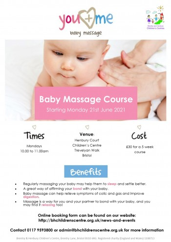 Baby massage June 2021 poster HCCC