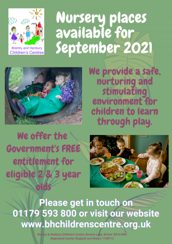 Nursery places available for September 2021