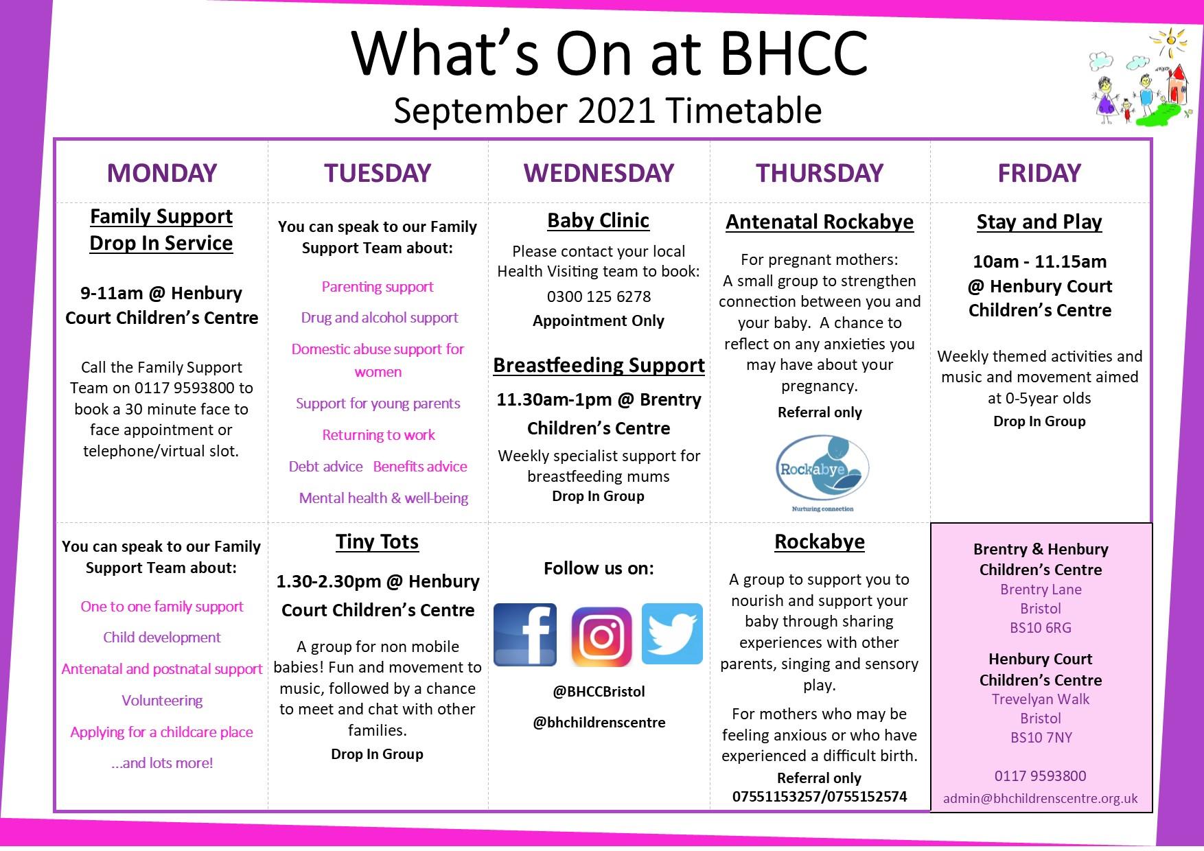 BHCC Timetable September 2021